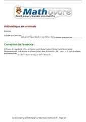 exercices arithmetique en terminale maths terminale 1450