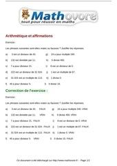 Fichier PDF exercices arithmetique et affirmations maths troisieme 954