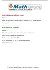 Fichier PDF exercices arithmetique et tableau excel maths troisieme 682