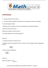 exercices arithmetique maths troisieme 11