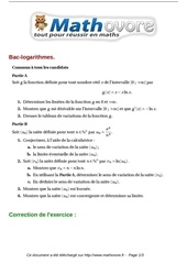exercices bac logarithmes maths terminale 391
