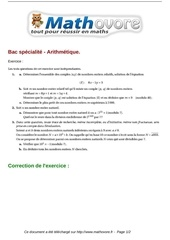 exercices bac specialite arithmetique maths terminale 396