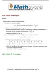exercices bac suites numeriques maths terminale 392