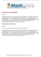 exercices barycentre et homotheties maths premiere 1145
