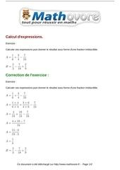Fichier PDF exercices calcul d expressions maths cinquieme 483