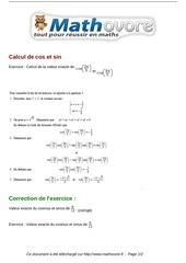 exercices calcul de cos et sin maths terminale 177