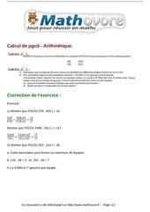 Fichier PDF exercices calcul de pgcd arithmetique maths troisieme 336