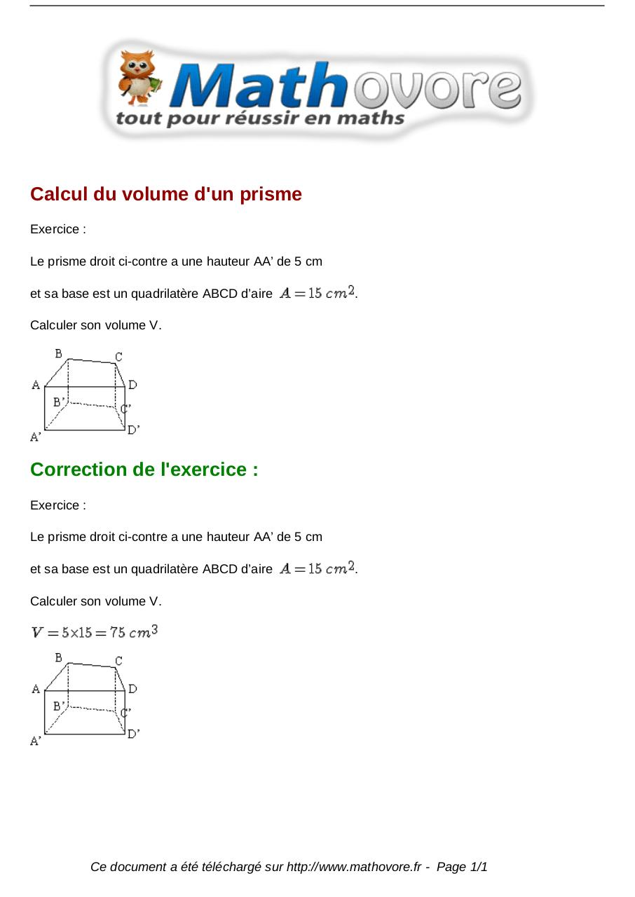 Exercices calcul du volume d un prisme maths cinquieme for Calculer son volume de demenagement