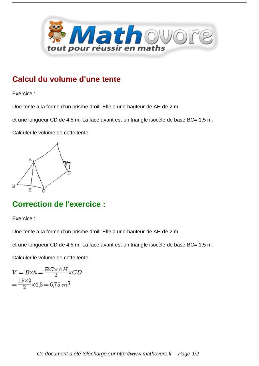 Exercices calcul du volume d une tente maths cinquieme - Calcul volume litre ...