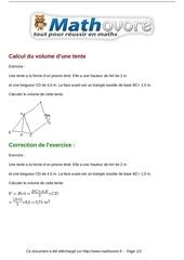 exercices calcul du volume d une tente maths cinquieme 1349
