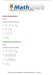 Fichier PDF exercices calcul fractionnaire maths quatrieme 227