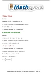 exercices calcul litteral maths troisieme 405