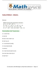 Fichier PDF exercices calcul litteral reduire maths quatrieme 220