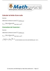Fichier PDF exercices calculer la limite d une suite maths premiere 1052
