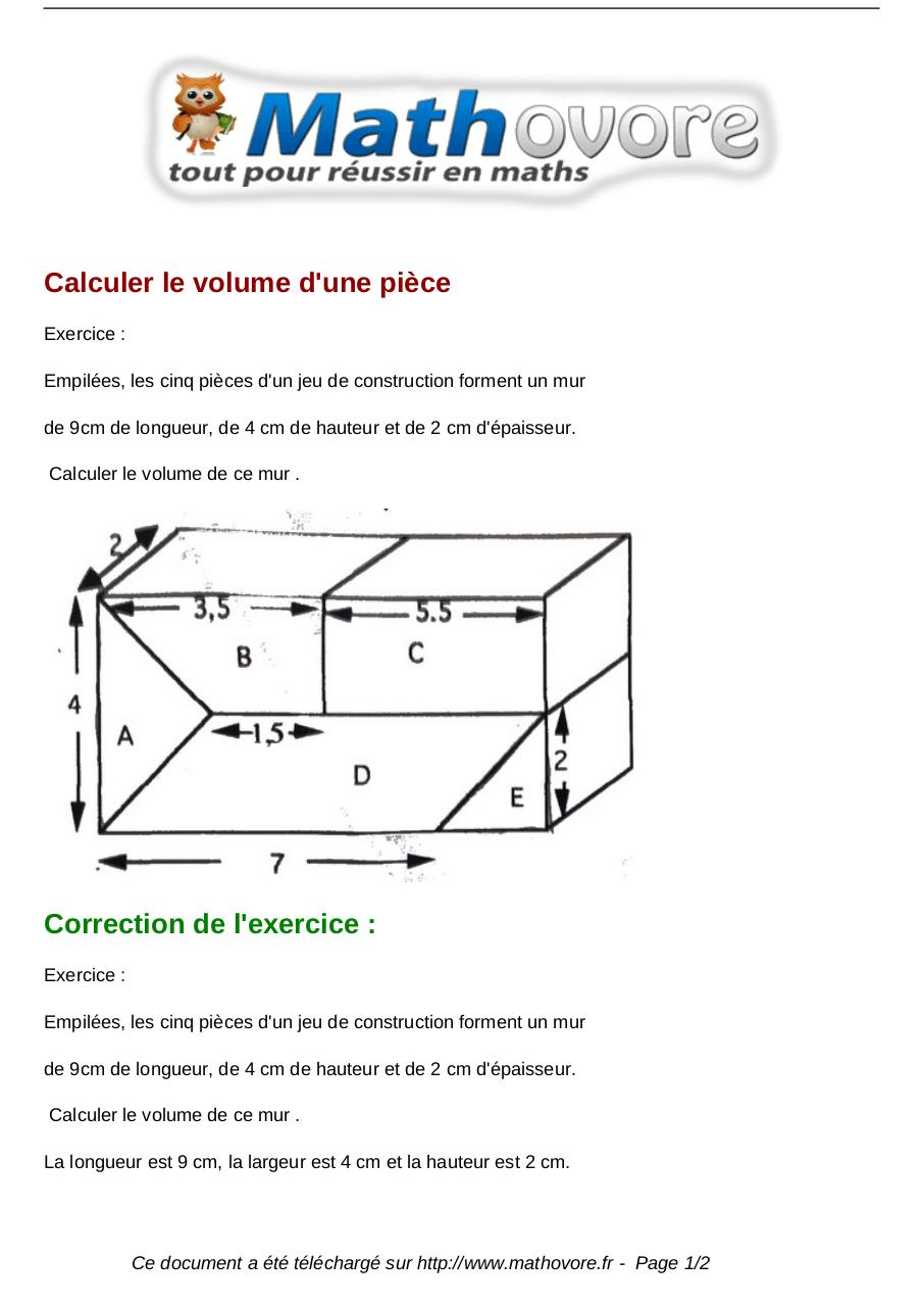 exercices calculer le volume d une piece maths cinquieme 932 fichier pdf. Black Bedroom Furniture Sets. Home Design Ideas