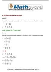 Fichier PDF exercices calculs avec des fractions maths seconde 998