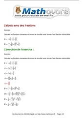 exercices calculs avec des fractions maths seconde 998