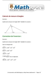 exercices calculs de mesure d angles maths cinquieme 689