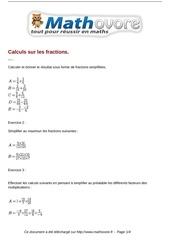 exercices calculs sur les fractions maths quatrieme 112