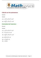 exercices calculs sur les puissances maths seconde 999