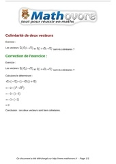 exercices colinearite de deux vecteurs maths seconde 990