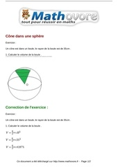 Fichier PDF exercices cone dans une sphere maths seconde 745