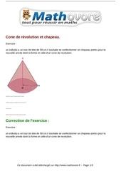 exercices cone de revolution et chapeau maths seconde 749
