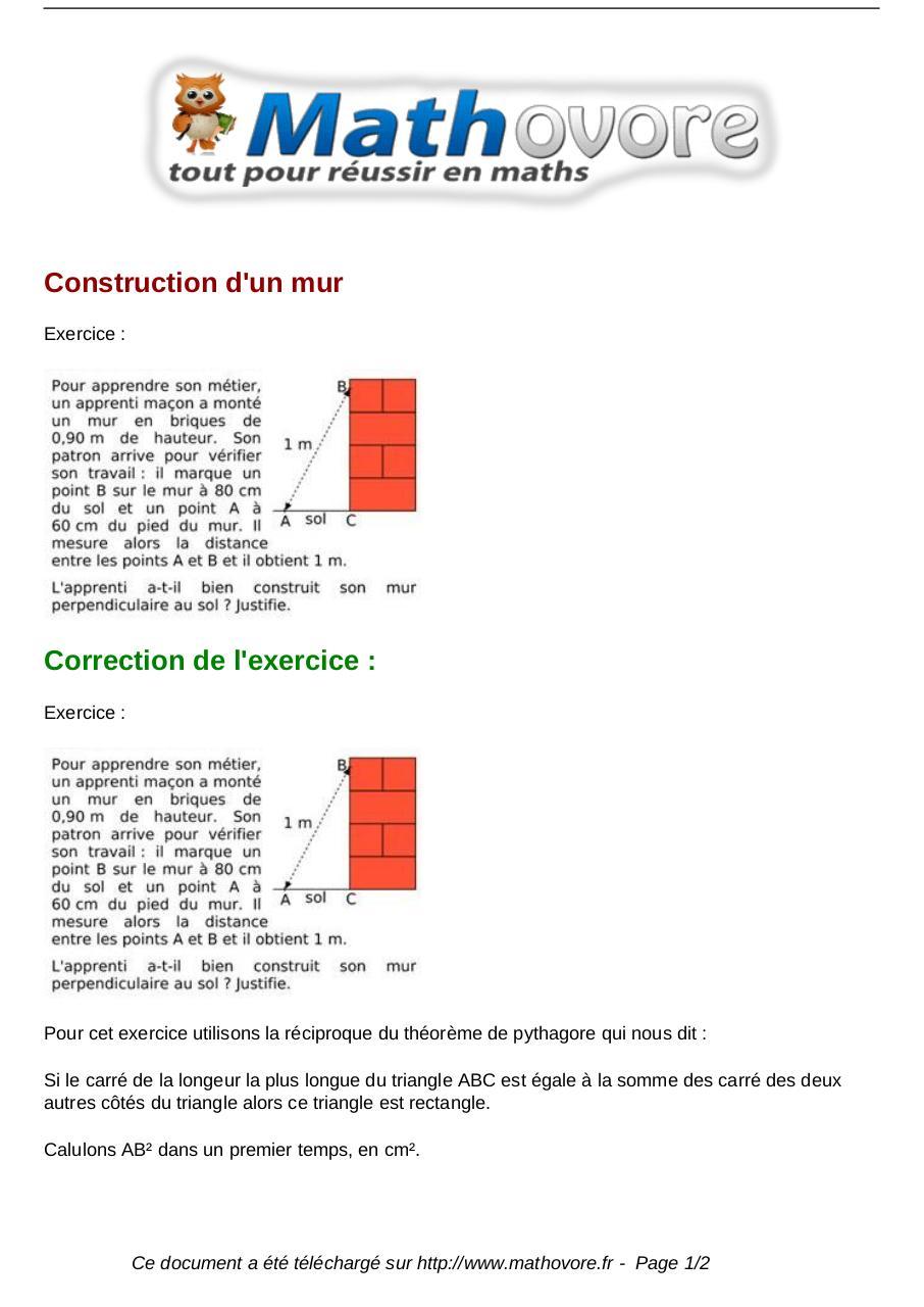 Exercices Construction D Un Mur Maths Quatrieme 1280 Fichier Pdf