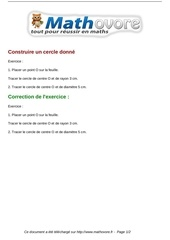 exercices construire un cercle donne maths sixieme 1220