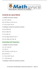 exercices controle de calcul litteral maths quatrieme 936