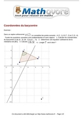 exercices coordonnees du barycentre maths premiere 1069