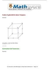 Fichier PDF exercices cube et geometrie dans l espace maths seconde 751