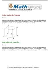Fichier PDF exercices cube et plan de l espace maths seconde 1014