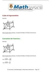 exercices cube et trigonometrie maths troisieme 809
