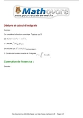 exercices derivee et calcul d integrale maths terminale 432