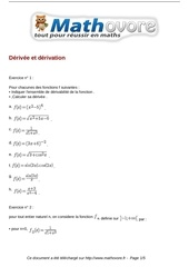 exercices derivee et derivation maths terminale 122