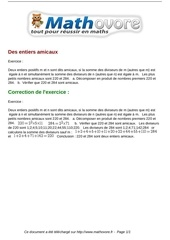 exercices des entiers amicaux maths seconde 1007