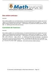 Fichier PDF exercices des entiers amicaux maths seconde 1007