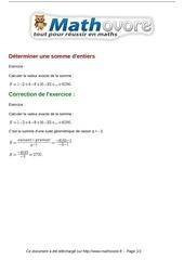 Fichier PDF exercices determiner une somme d entiers maths premiere 1047
