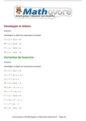 exercices developper et reduire maths quatrieme 494
