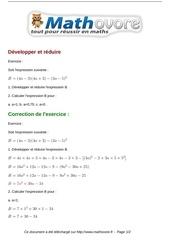 exercices developper et reduire maths troisieme 502