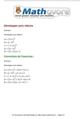 exercices developper puis reduire maths seconde 1204