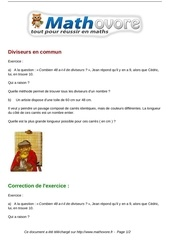 exercices diviseurs en commun maths troisieme 955