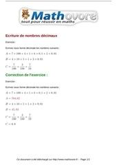 exercices ecriture de nombres decimaux maths sixieme 480