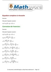 Fichier PDF exercices equation complexe a resoudre maths seconde 758