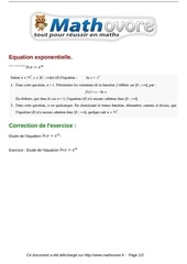 exercices equation exponentielle maths terminale 191