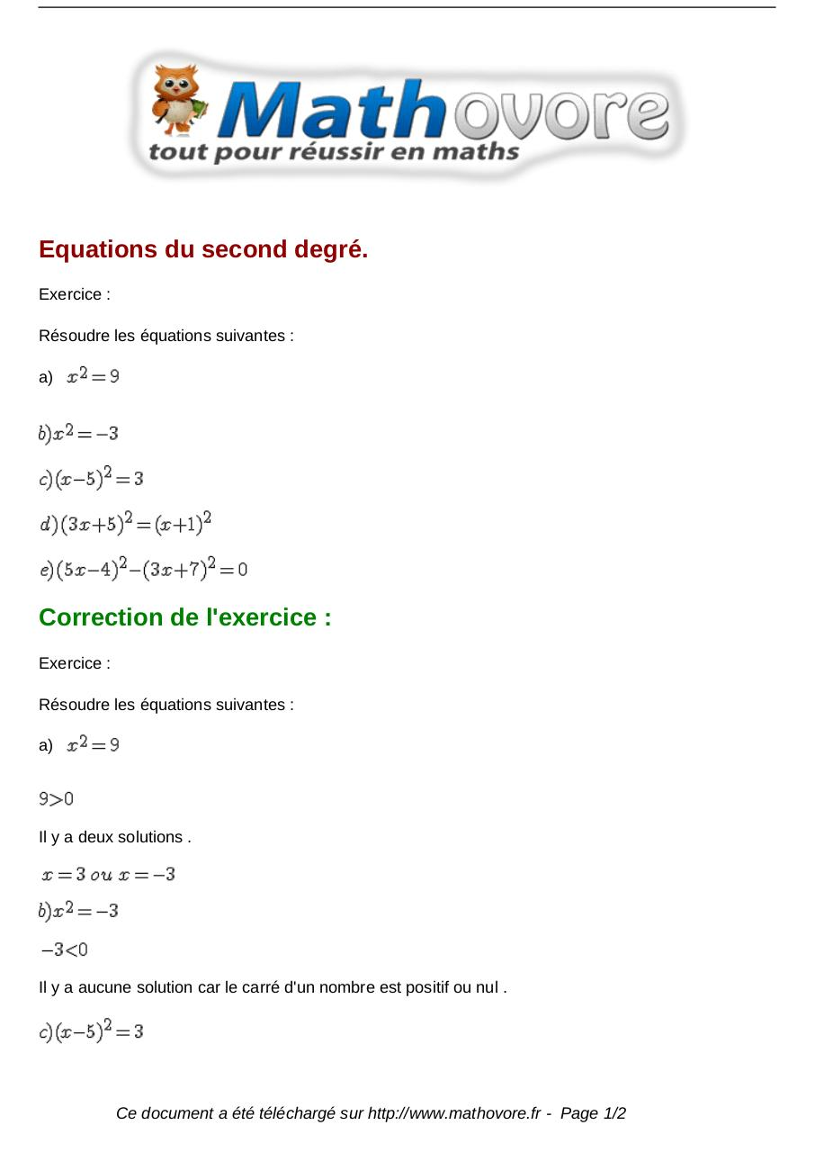 Exercices Equations Du Second Degre Maths Premiere 87 Fichier Pdf