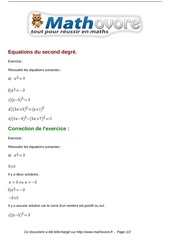 exercices equations du second degre maths premiere 87