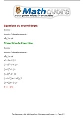 exercices equations du second degre maths seconde 765