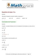 exercices equations du type x a maths troisieme 774
